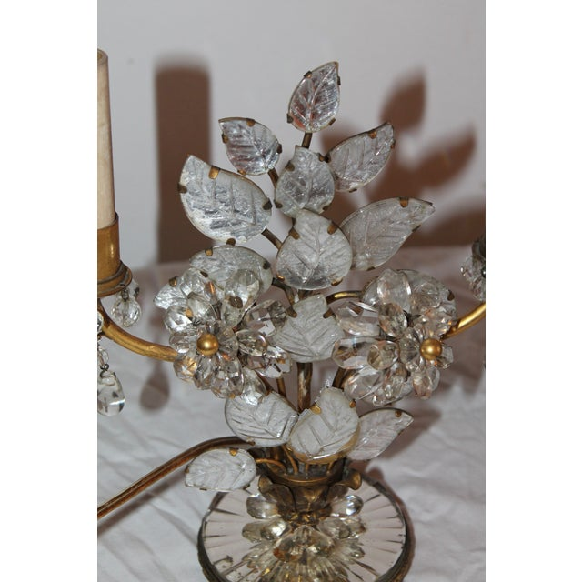 1930s Maison Bagues French Art Deco Cut Crystal Flowers Table Lamps - a Pair For Sale In Miami - Image 6 of 13
