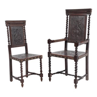 19th-Century Spanish Baroque-Style Ladies and Gents Chairs - a Pair