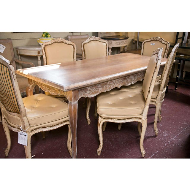 French Provincial Style Distressed Dining Table - Image 7 of 8