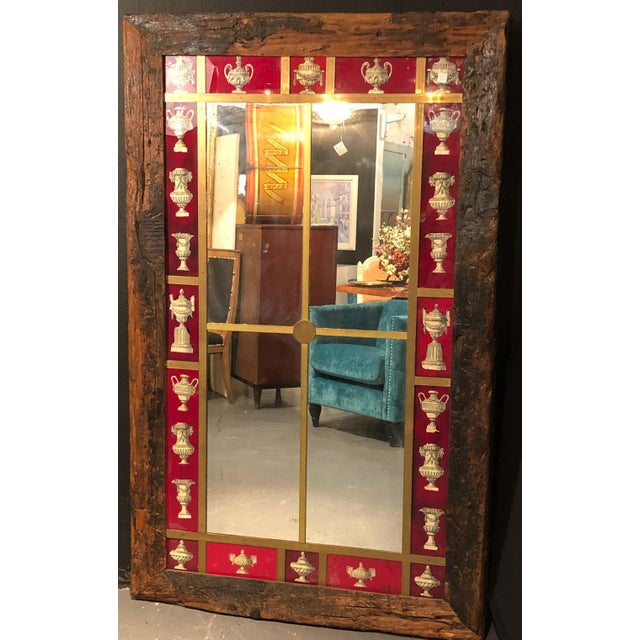 Rustic Italian Wall Mirror With Reverse Painted Classical Vases and Urns For Sale In New York - Image 6 of 13