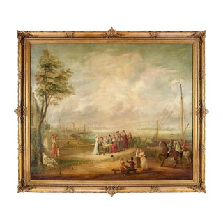 18th Century French Pastoral and Harbor Scene Oil Painting in Ornate Gilt Frame For Sale
