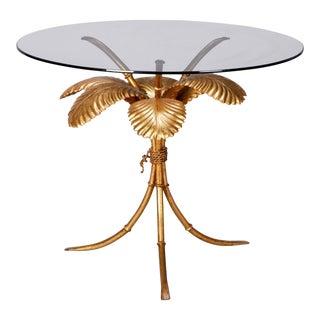 Mid-Century Italian Gilt Metal Palm Leaf Side Table For Sale