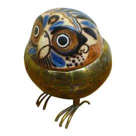Mid-Century Modern Brass & Ceramic Owl Figurine