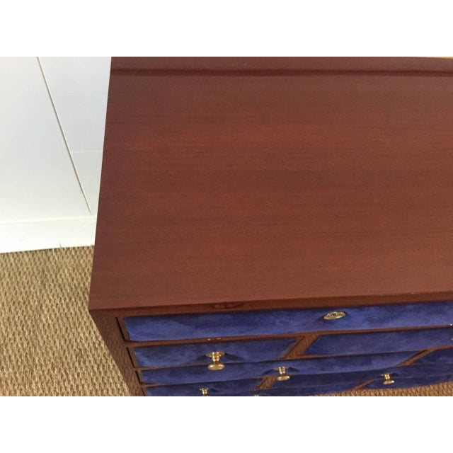 1940s Maison Jansen Chest of Drawers with Blue Suede and Gold-Plated Pulls For Sale - Image 5 of 6