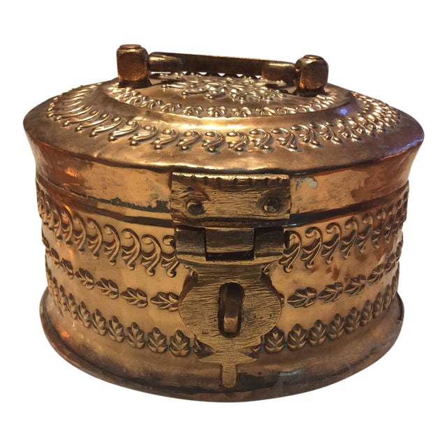 Antique Tinned Copper Repousse Box - Image 1 of 8