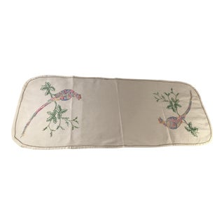 Vintage Peacock Embroidered Dresser Scarf For Sale