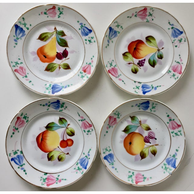 4 Antique French Porcelain Hand-Painted Fruit Plates For Sale - Image 9 of 10