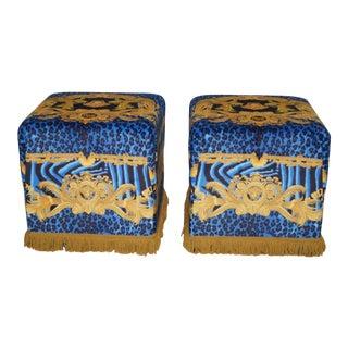 1990s Vintage Versace Blue Ottomans- a Pair For Sale
