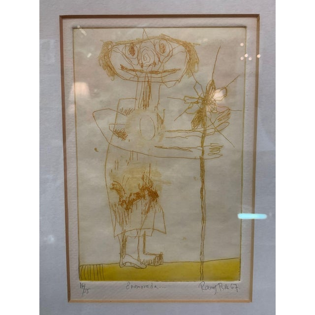 "Fernando Ramos Prida (Mexican 1937—) ""Enamorada"" 1967 Limited edition drypoint etching with paint Signed, titled and..."