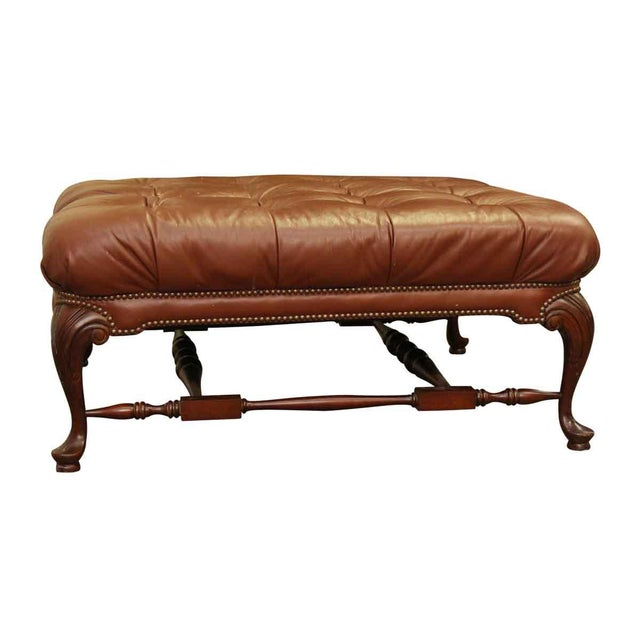 Large French Tufted Leather Foot Stool For Sale - Image 11 of 13