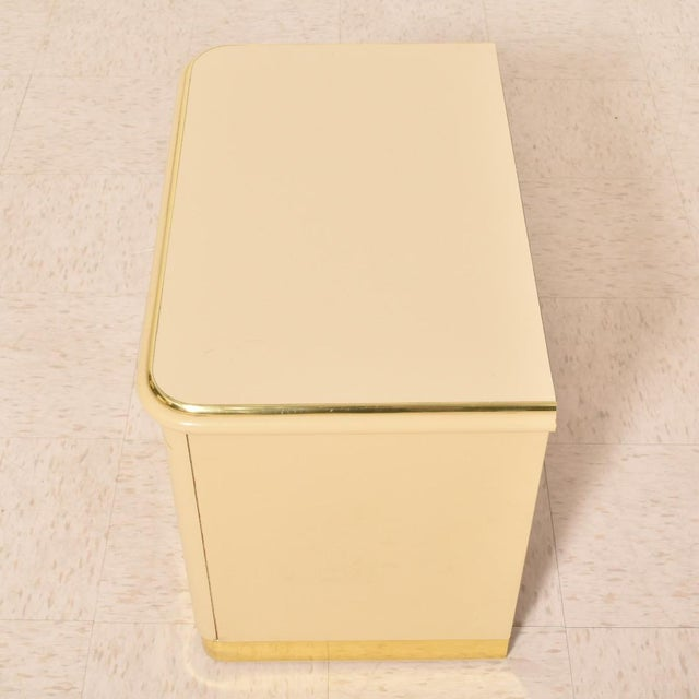 1980s Lane Brass and Cream Nightstands-a Pair For Sale In Los Angeles - Image 6 of 8