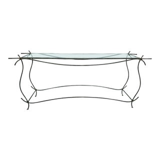 20th Century Industrial Wrought Iron and Glass Console