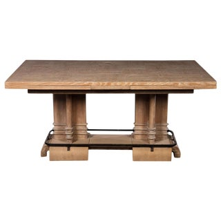 Frank Lloyd Wright Style Art Deco Cerused Oak Dining Table For Sale