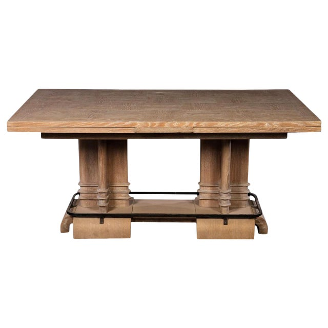 Frank Lloyd Wright Style French Art Deco Cerused Oak Dining Table For Sale
