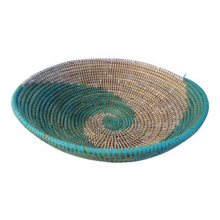 African Artisan Mint Green & White Centerpiece Basket For Sale