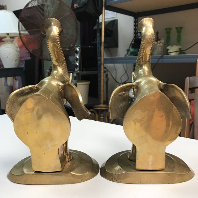 Brass Elephant Bookends - A Pair For Sale - Image 5 of 10