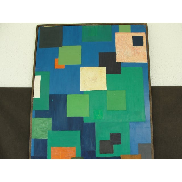 Geometric Abstract Oil on Masonite - Image 5 of 6