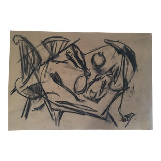 """Two Fishes"" Original Charcoal Drawing on Paper by Erik Sulander For Sale"