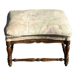 Modern Vintage Style French Country Pink & Green Floral Ottoman Bench For Sale