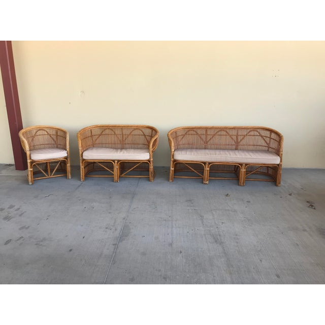 Mid Century Italian Rattan and Bamboo Chairs and Settee- 6 Pieces For Sale - Image 10 of 11