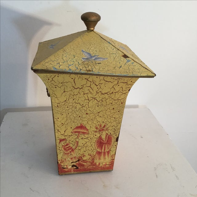 Crackled Yellow & Red Tole Box - Image 3 of 5