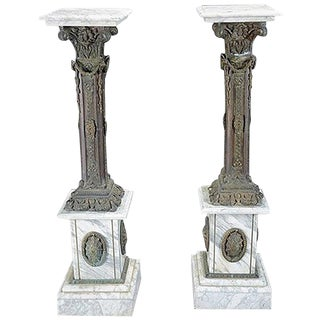 Pair of Italian Bronze and Marble Pedestals For Sale