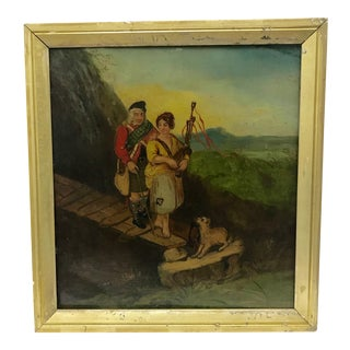"Antique ""The Blind Piper"" Scottish School Oil Painting"