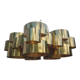 "70's Curtis Jere "" Clouds"" Brass Chandelier"
