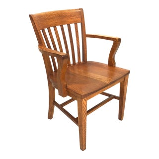Early 20th Century Antique Solid Oak Library Chair For Sale