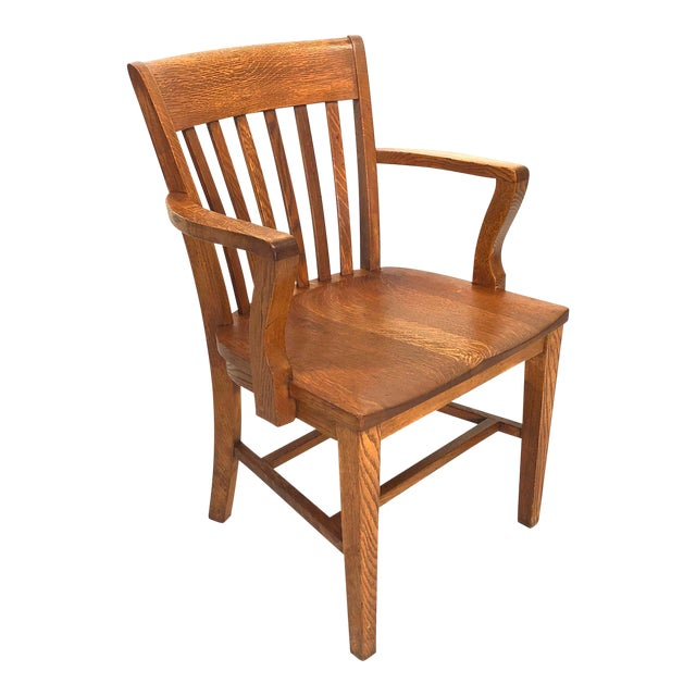 Early 20th Century Antique Solid Oak Library Chair For Sale - Early 20th Century Antique Solid Oak Library Chair Chairish