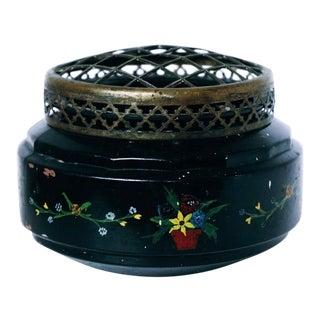 Vintage Painted Glass Flower Arranger Vase For Sale