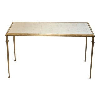 Regency Lilian August for Drexel Heritage Silver Leaf and Antique Mirrored Coffee Table For Sale
