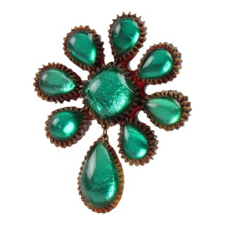 Line Vautrin School Aqua Green Talosel Resin Dangling Pin Brooch For Sale