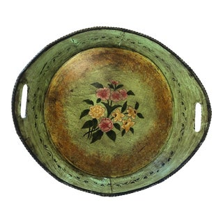 Mid-Century French Hand Painted Green and Floral Tole Tray With Gilt Accents For Sale