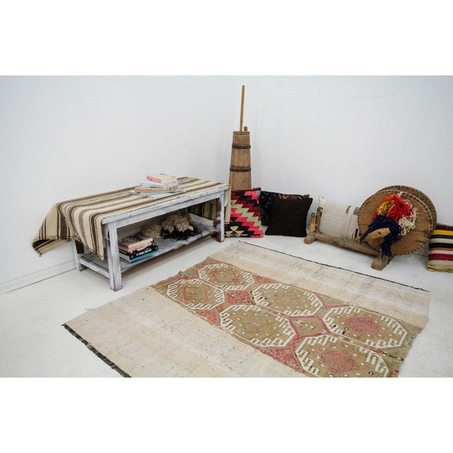 Vintage Turkish Decorative Kilim Rug- 5′2″ × 5′5″ For Sale In Los Angeles - Image 6 of 7