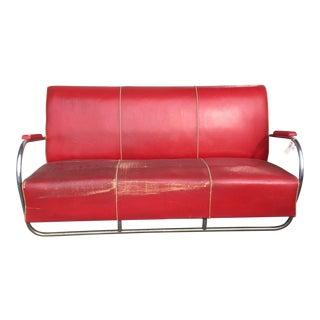 1940s Vintage Art Deco Chrome Sofa For Sale