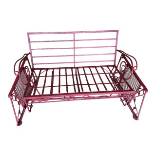 Mid-Century Modern Wrought Iron Porch Glider For Sale