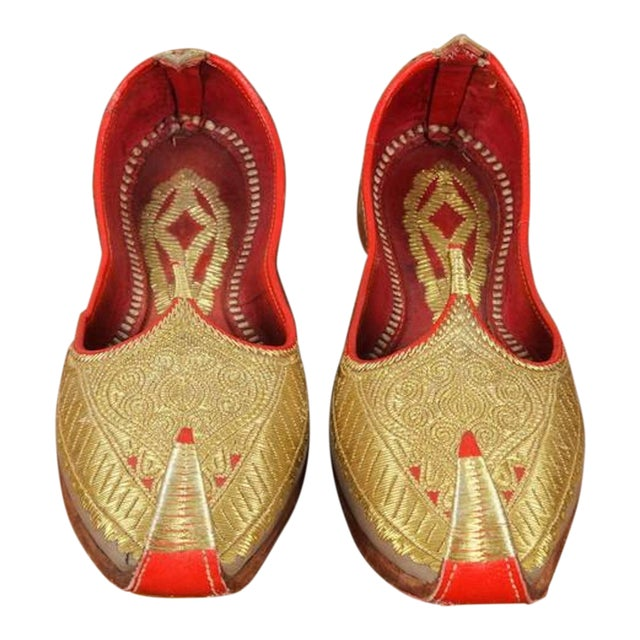 Gold and Red Embroidered Leather Shoes For Sale