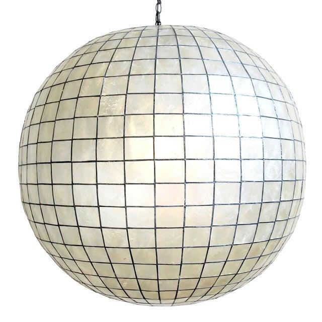 Capiz Shell Globe Lantern 36 For Sale - Image 4 of 4