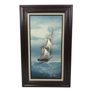 1960s Vintage Sailboat Oil Painting For Sale