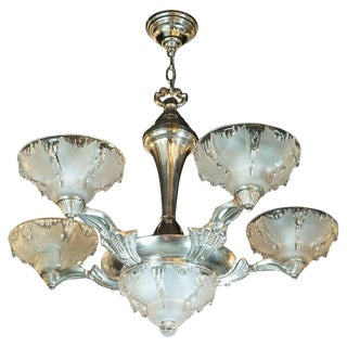 Ezan & Petitot Art Deco Frosted Glass Chandelier With Silvered Bronze Fittings For Sale