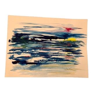 "Contemporary Nancy Smith Original Watercolor Seascape ""Wavelengths"" For Sale"