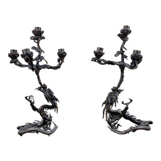 Meiji Period Bronze Dragon Form Candelabrum a Pair For Sale