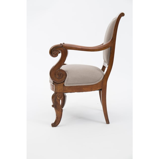 Early 19th Century Solid Walnut Pair French Restauration Armchairs For Sale - Image 5 of 10