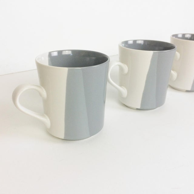 Modern Gray and White Mugs and Pitcher Set With Asymmetrical Line Pattern - 5 Piece Set For Sale - Image 11 of 13