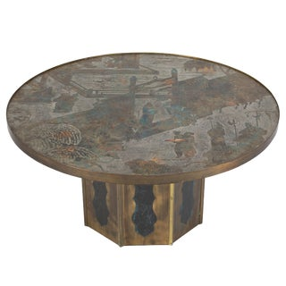 "Signed ""Chan"" Coffee Table by Philip and Kelvin LaVerne C. 1960s For Sale"