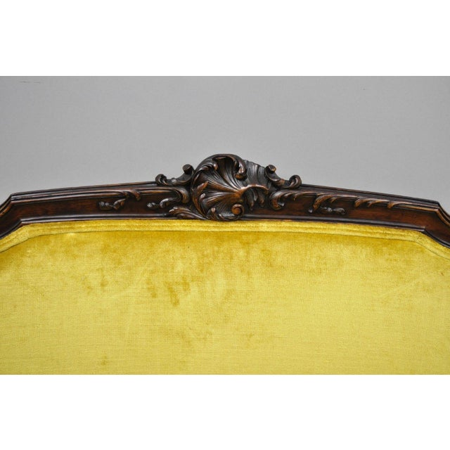 Antique French Louis XV Style Finely Carved Mahogany Settee Loveseat For Sale - Image 4 of 11