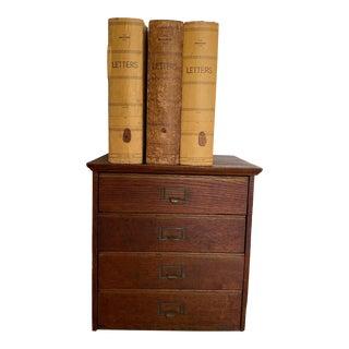 Vintage Globe File Drawer Inserts & Wooden File Drawers - Set of 4 For Sale