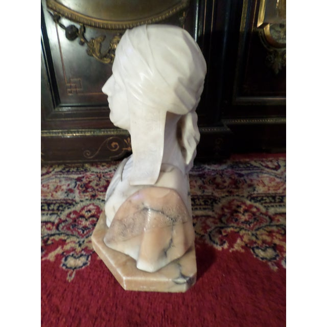 Late 19th Century Antique Italian Alabaster Bust of Woman For Sale - Image 5 of 13