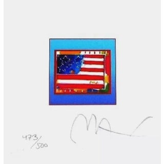 Peter Max Flag with Heart on Blue 2002 For Sale
